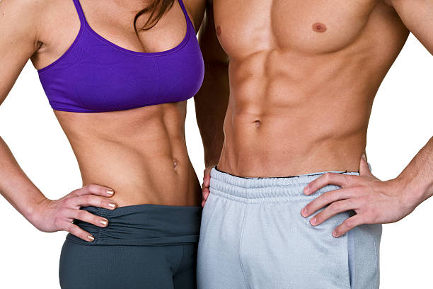 Male and female waist for fitness concept Muscular male and female waist isolated on white background for a weight loss or fitness concept abdominal muscle stock pictures, royalty-free photos & images