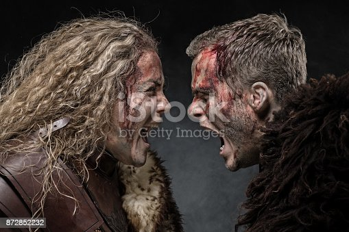 istock Male and female weapon wielding bloody viking warriors in emotional pose 872852232