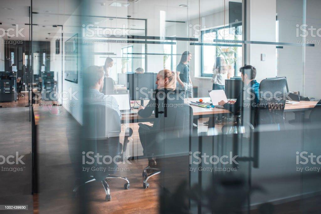 Männliche und weibliche Webdesigner arbeiten im Büro – Foto