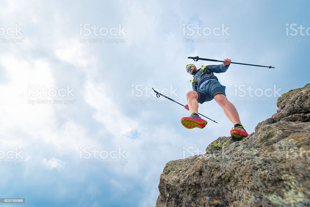 Male athlete falls stock photo