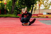 istock male athlete practising parkour in the street in summer day b 1089394822