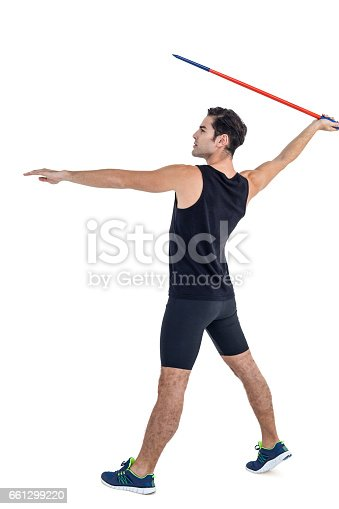 856713554 istock photo Male athlete preparing to throw javelin 661299220