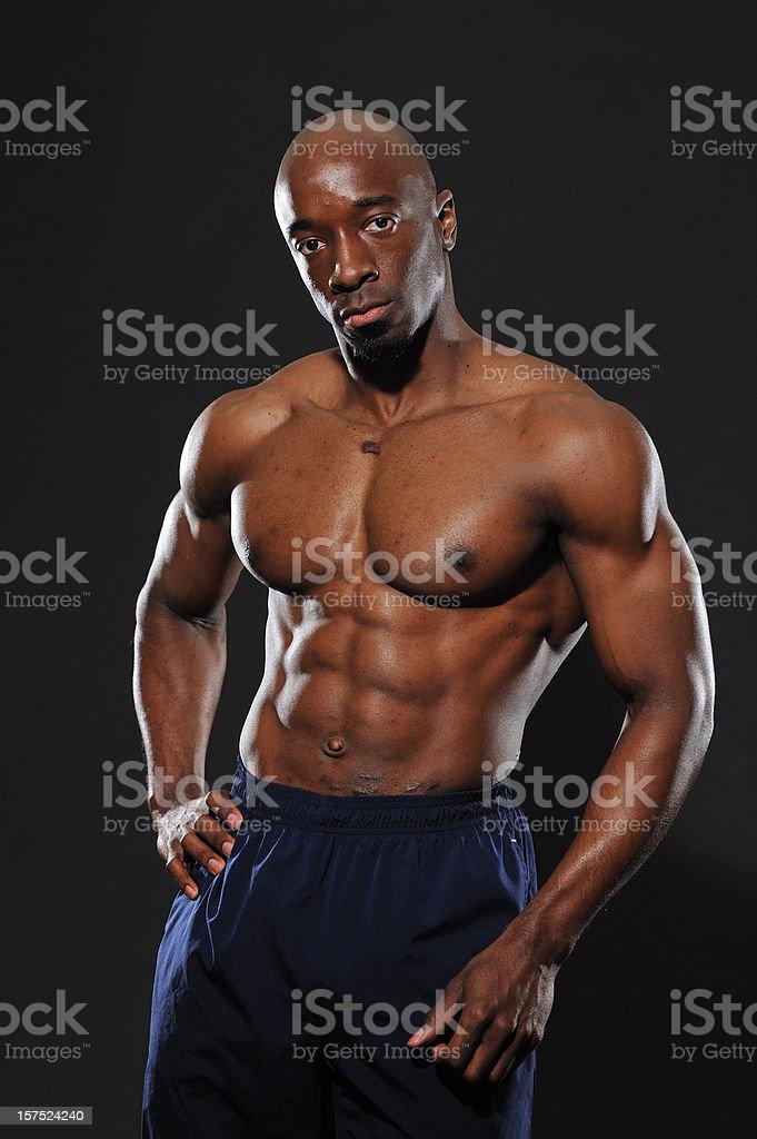 Male athlete resting stock photo