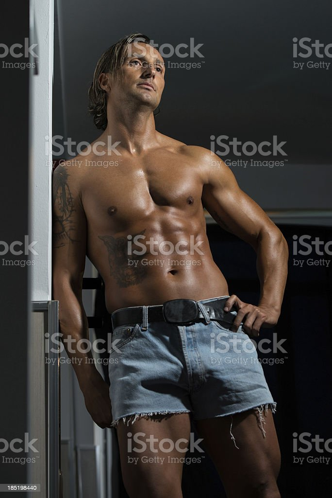 Male Athlete's Ripped Abs royalty-free stock photo