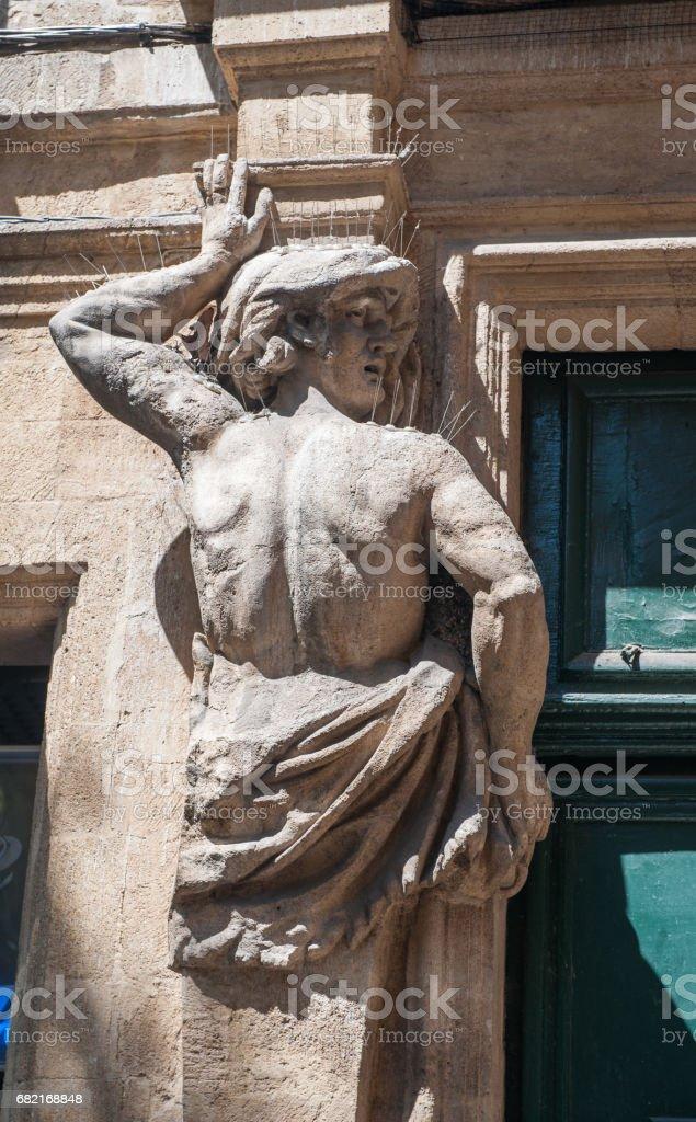 Male Atlante in Aix-en-Provence, France stock photo