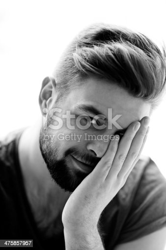 Black and white portrait of attractive bearded man