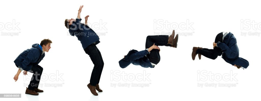 Male backflipping stock photo
