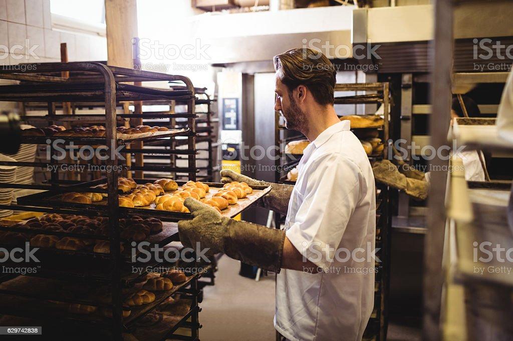 Male baker holding a tray of michetta stock photo