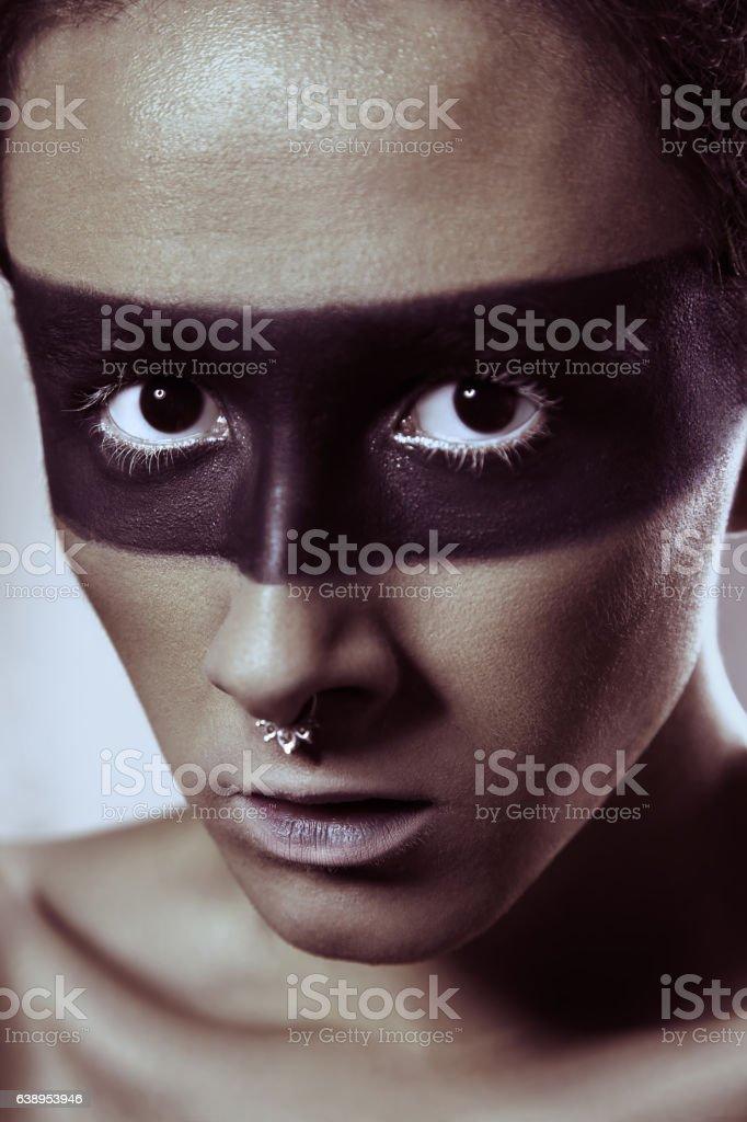 Male beauty makeup portrait. studio shot. stock photo