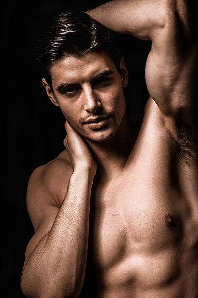 Male beauty Portrait of a shirtless male model posing shirtless male models stock pictures, royalty-free photos & images