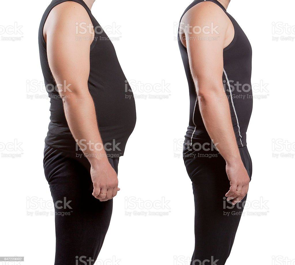 Male before and after weight loss stock photo