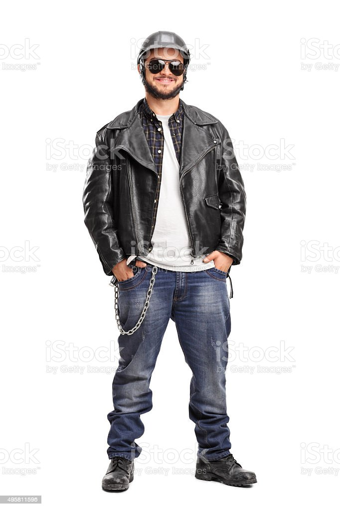 Male biker in a black leather jacket​​​ foto