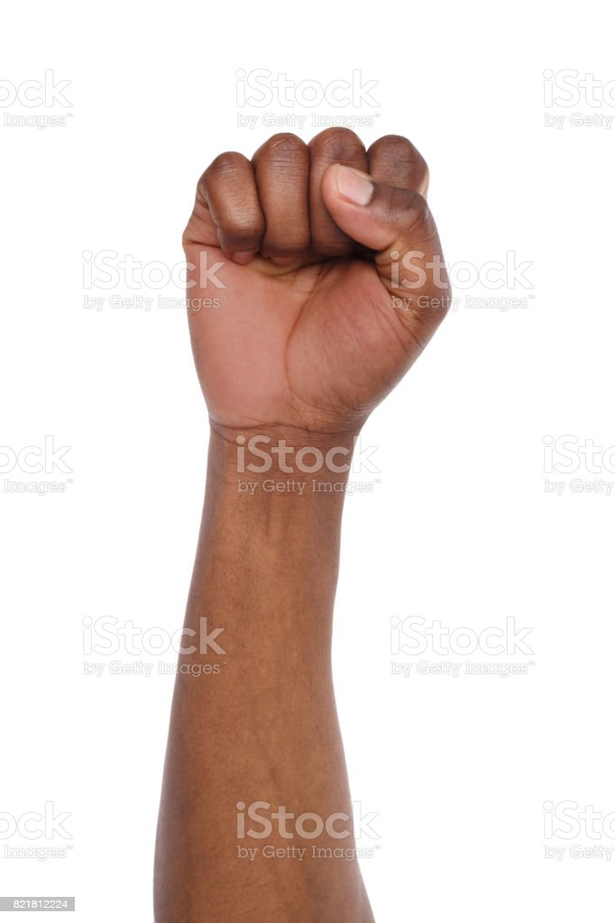 Male black fist isolated on white background stock photo
