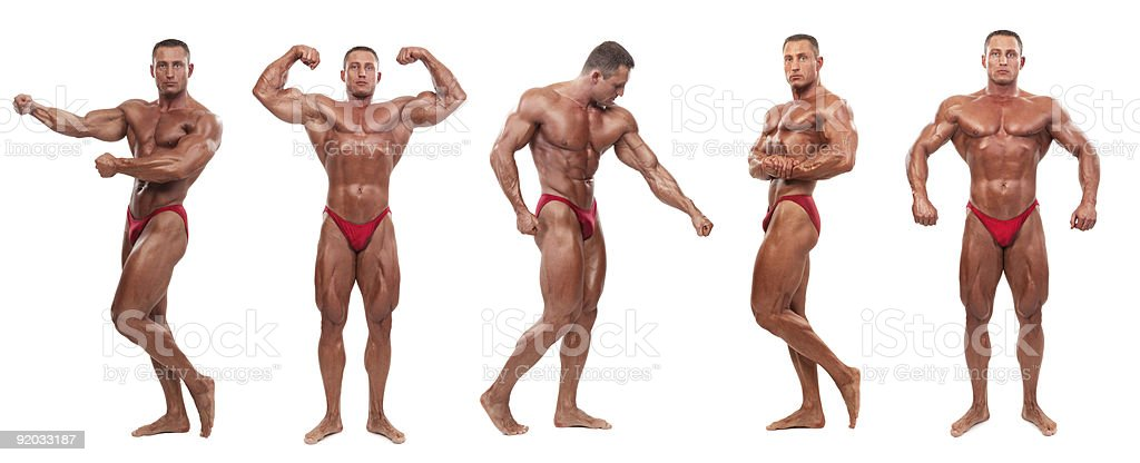 Male body builder demonstrating five poses - isolated stock photo