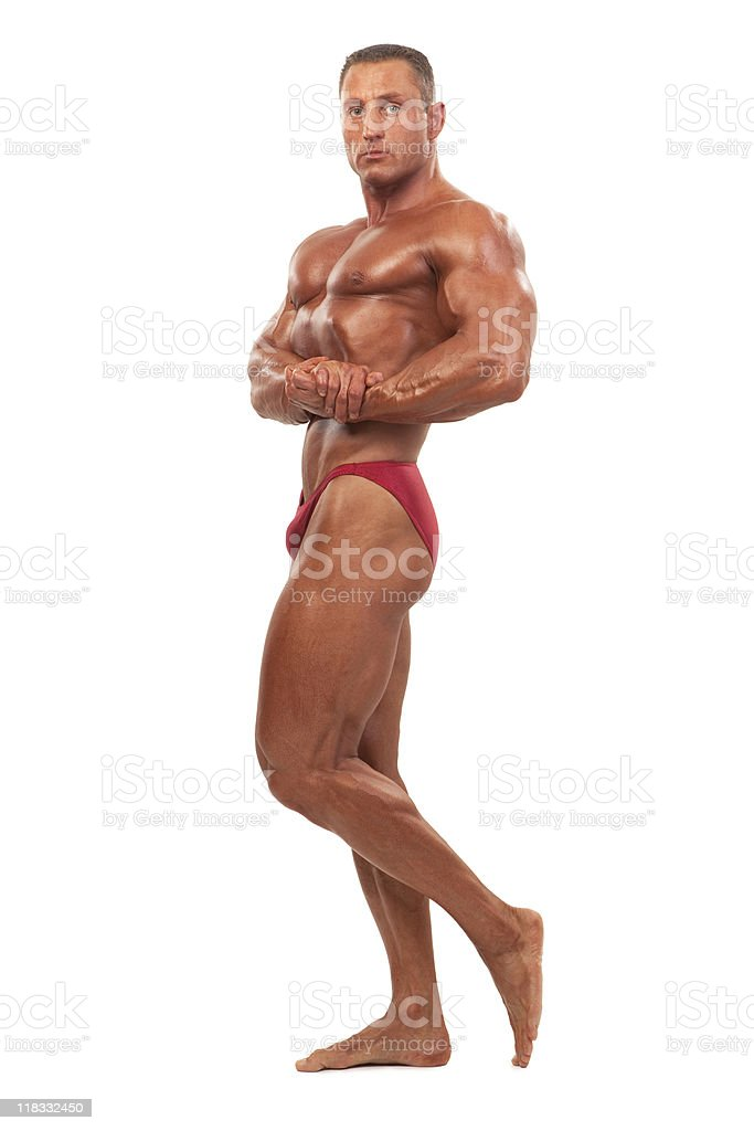 Male body builder demonstrating pose, isolated royalty-free stock photo