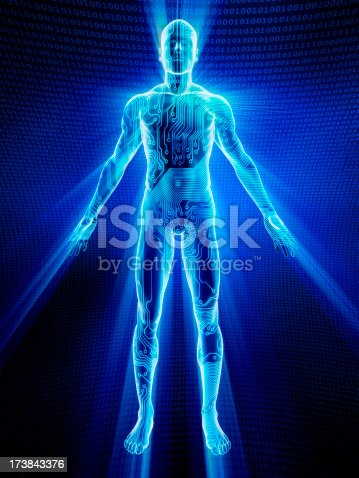 istock Male body covered in electronic circuits 173843376