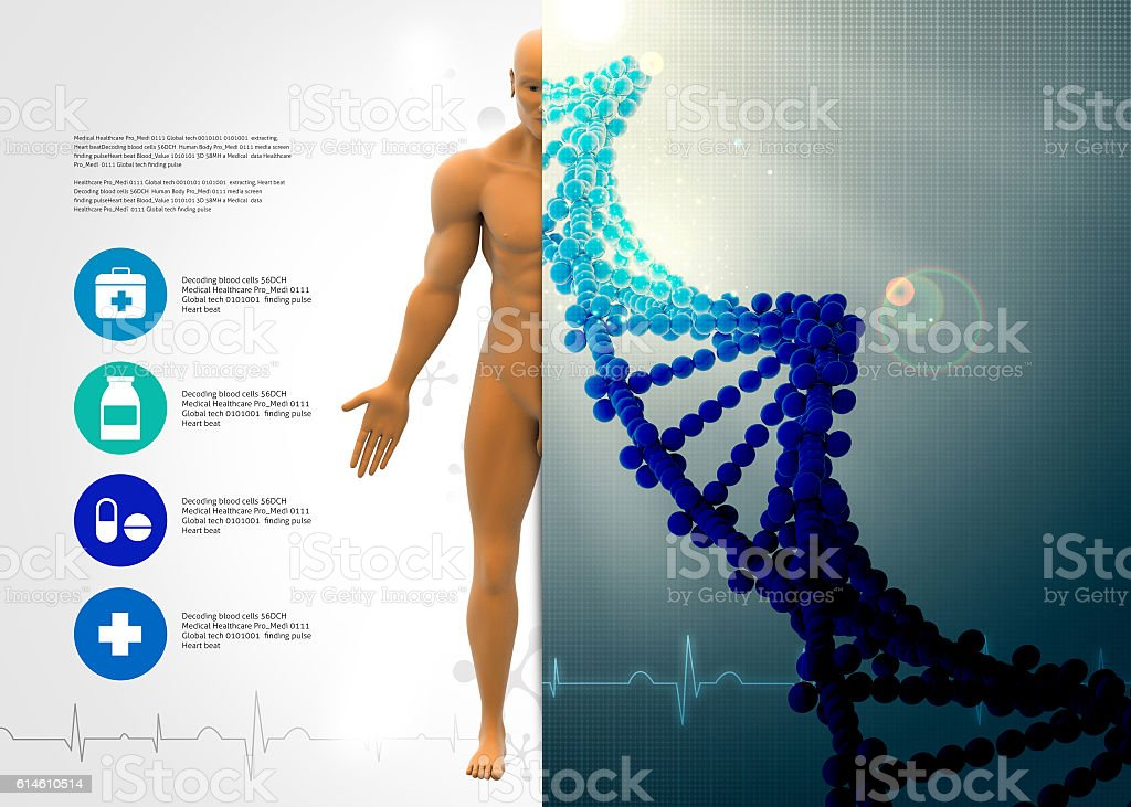 Male body with dna stock photo