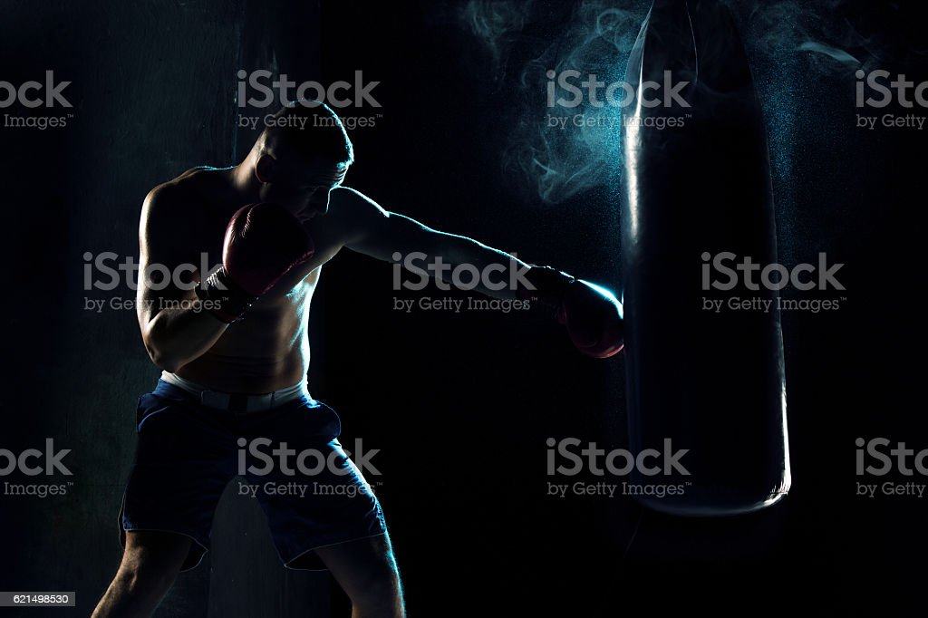 Male boxer boxing in punching bag foto stock royalty-free