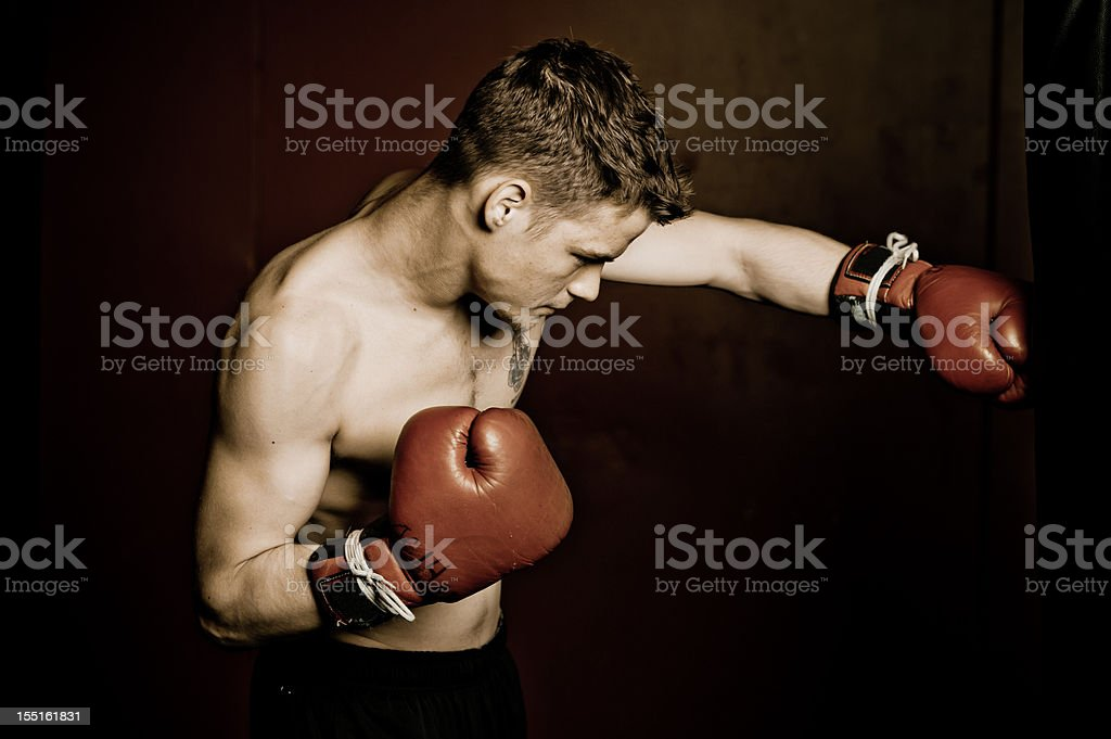 Male boxer hitting the bag royalty-free stock photo