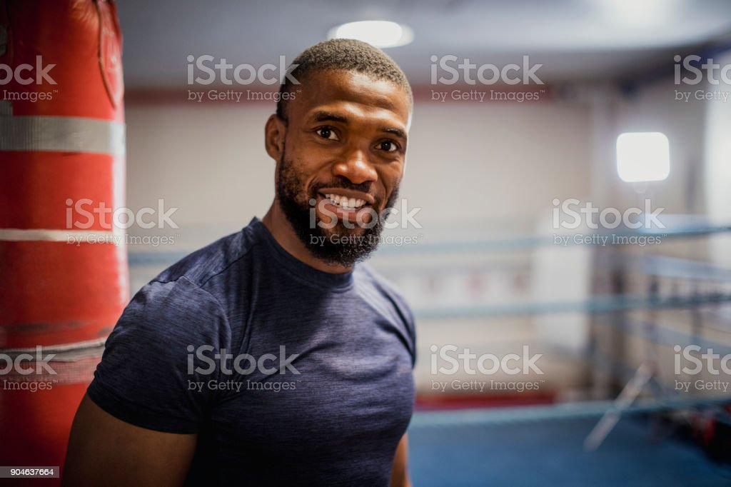 Male Boxer in the Gym stock photo