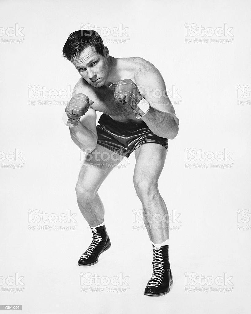 Male boxer posing royalty free stockfoto