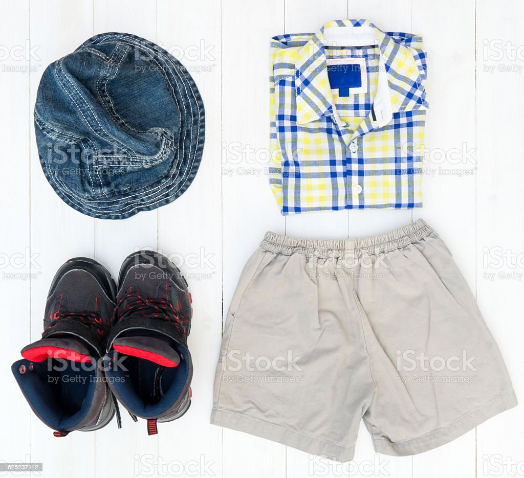 Male Boy Kid casual fashion clothing stock photo