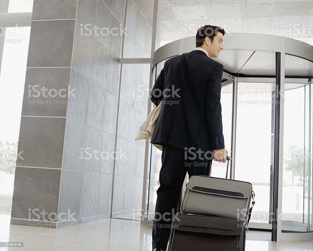 Male business traveler stock photo