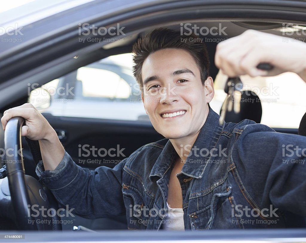Male buying a new car stock photo