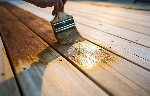 Male Carpenter Applying Varnish To Wooden Deck stock photo