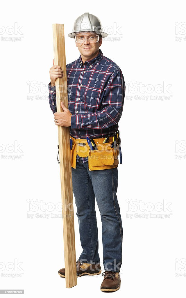 Male Carpenter Holding a Wooden Plank - Isolated royalty-free stock photo