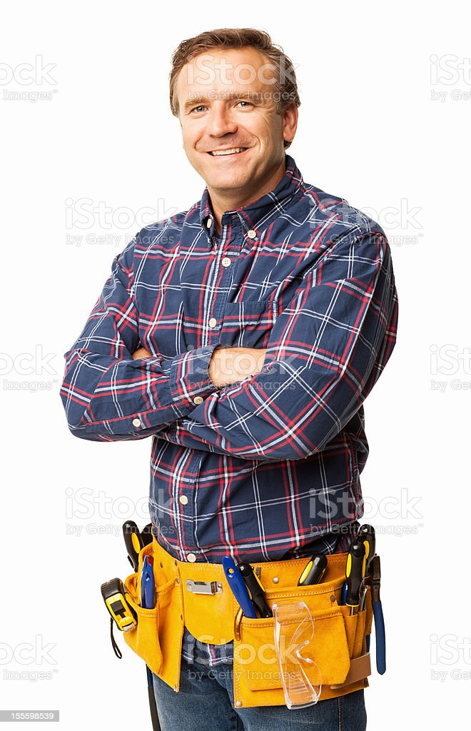 Male Carpenter Standing Confidently With a Utility Belt - Isolated stock photo