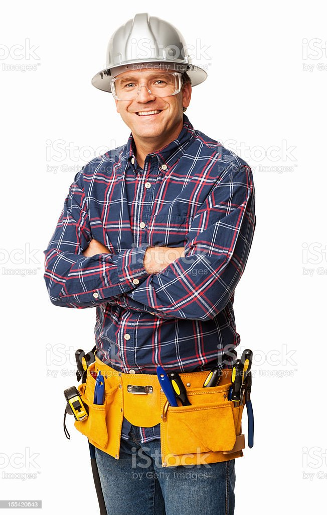 Male Carpenter With Tool belt - Isolated royalty-free stock photo