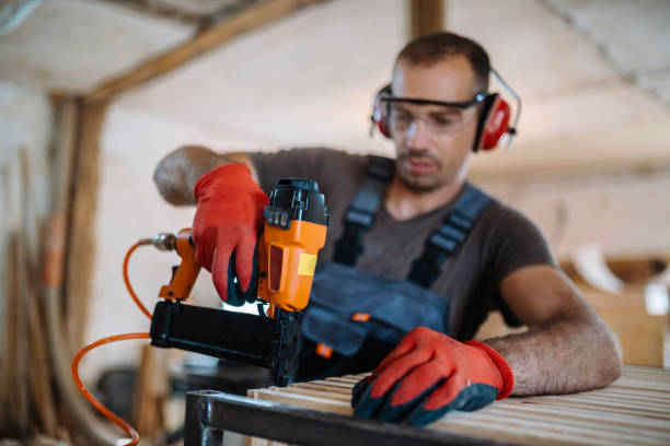 Male carpenter working at his workshop stock photo stock photo