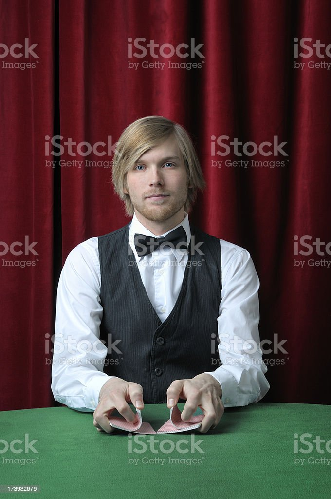 Male casino card  dealer royalty-free stock photo