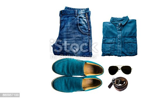 istock Male casual clothes collection - Urban outfit - white background 885957100