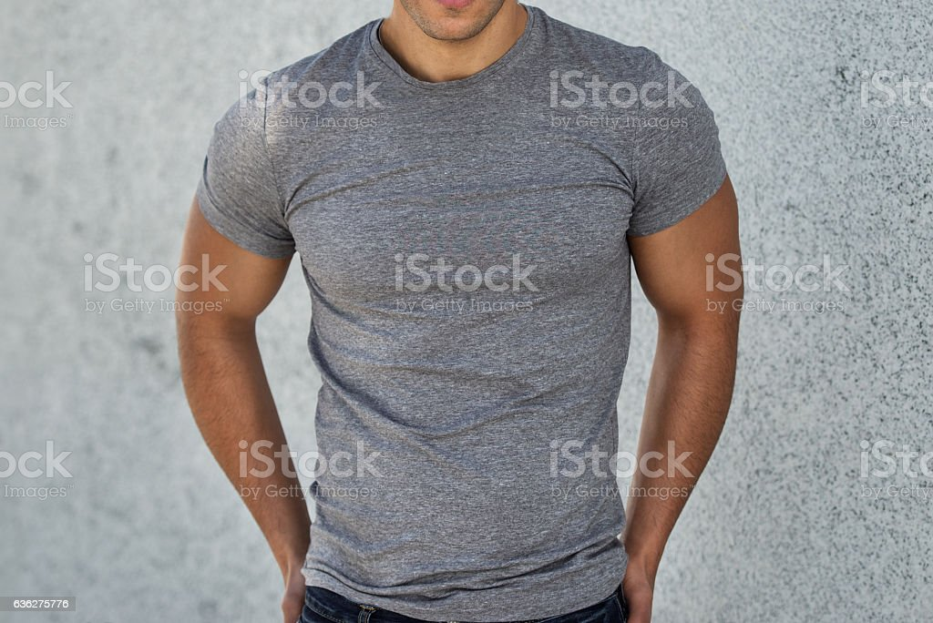 Male casual grey clear t-shirt. stock photo