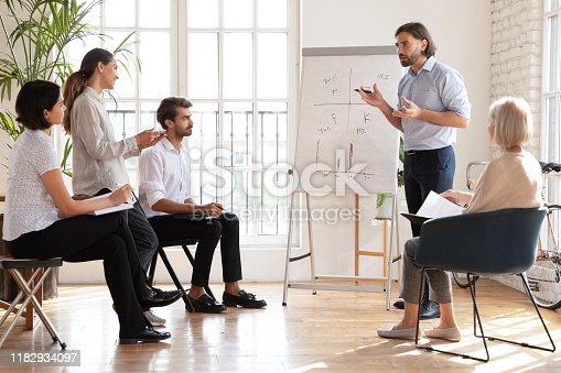 1031235468 istock photo Male ceo speak to multiethnic staff presenting new corporate strategy 1182934097