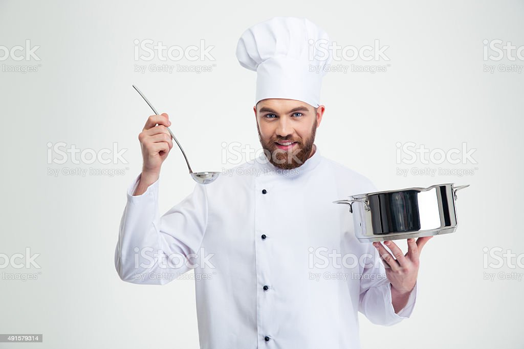 Male chef cook holding a saucepan and ladle stock photo