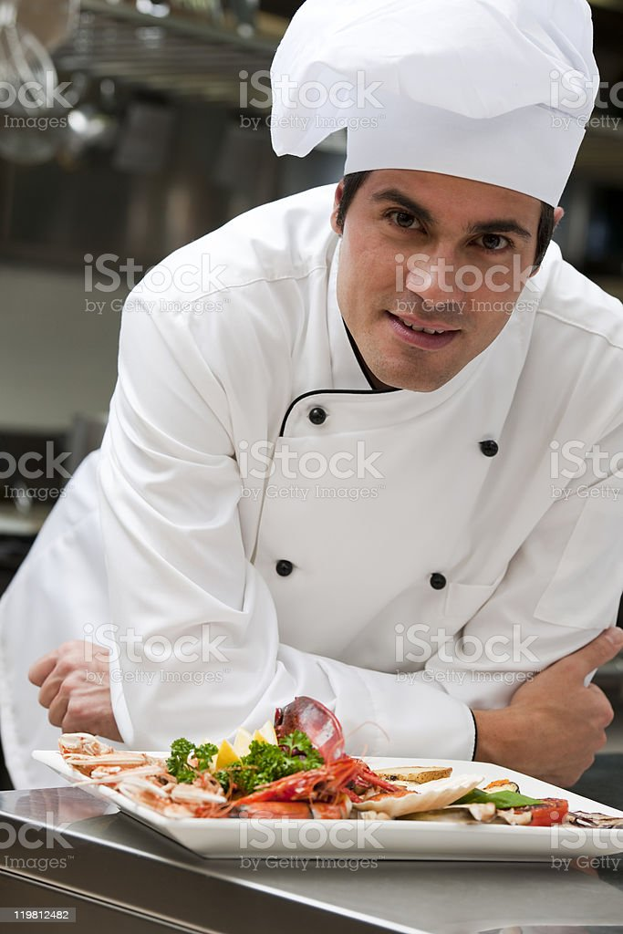 Male Chef in The Restaurant royalty-free stock photo