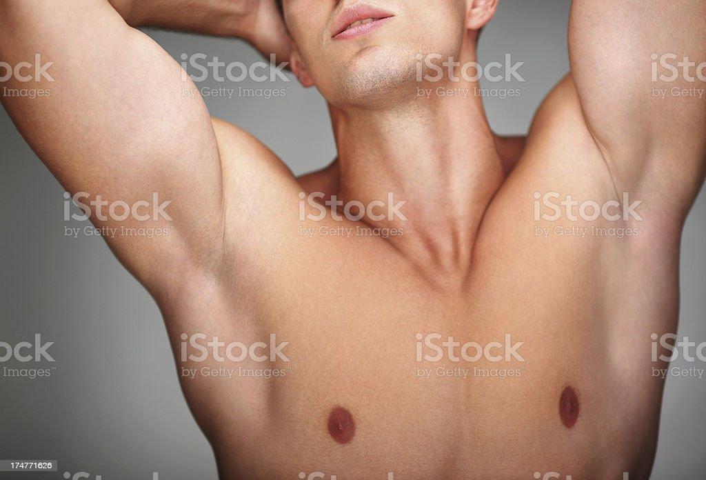 Male chest,closeup. stock photo