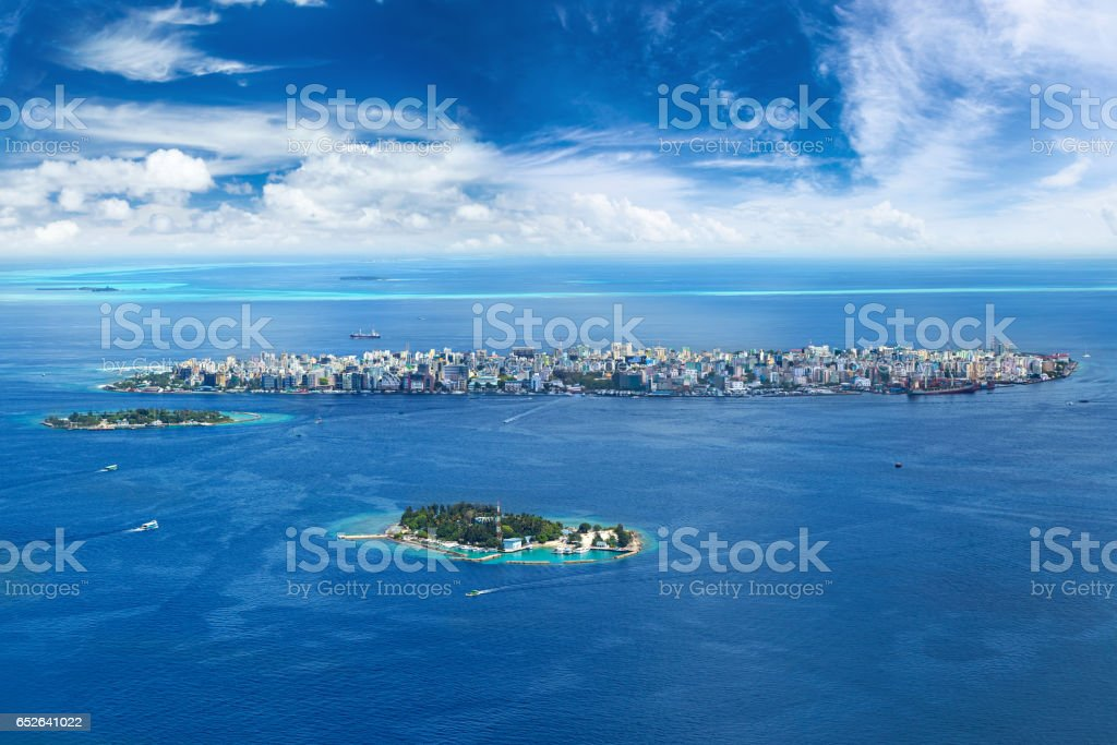 male city aerial view stock photo