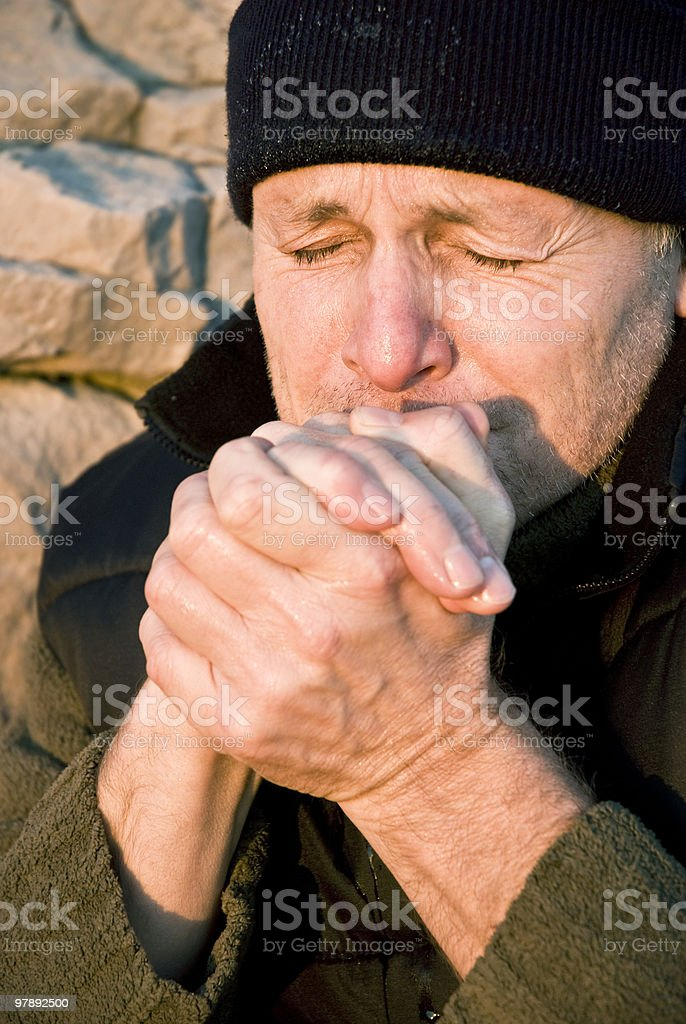 male climber feeling the cold royalty-free stock photo