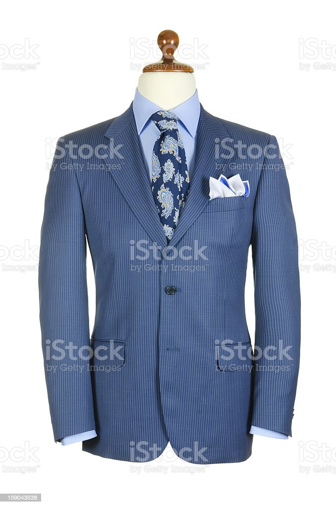 Male clothinh suit on stand isolated white royalty-free stock photo