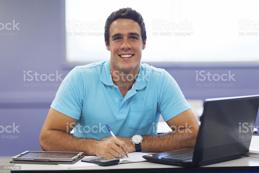 male college student in lecture hall royalty-free stock photo
