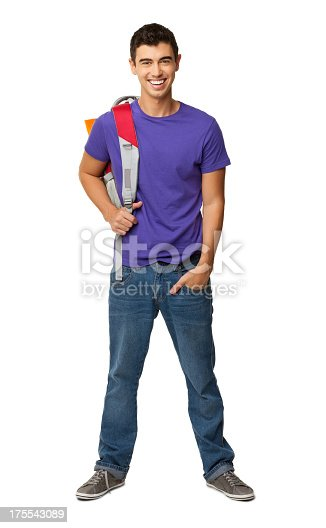 istock Male College Student With Rucksack - Isolated 175543089