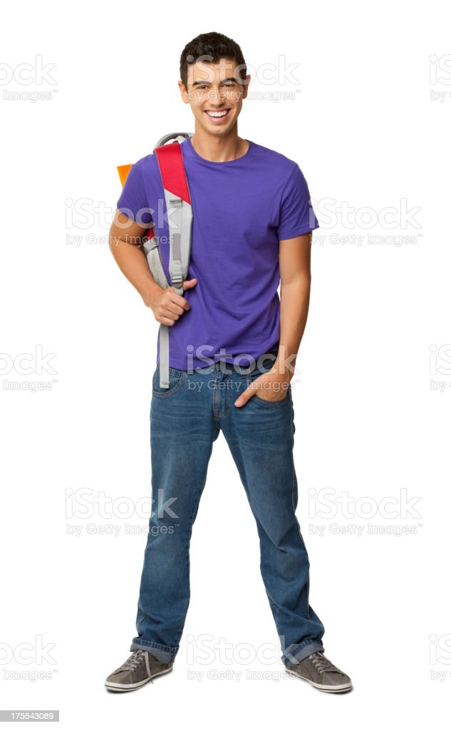 Male College Student With Rucksack - Isolated stock photo