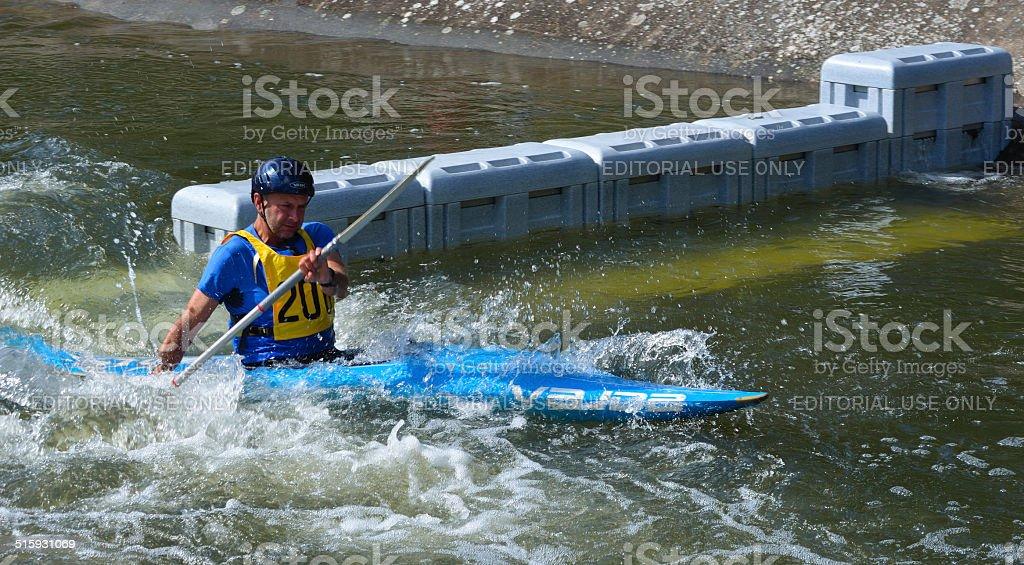 Male Competitor Kayak stock photo