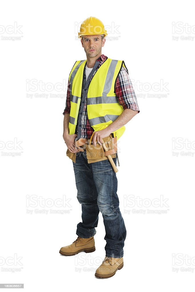 Male Construction Worker Wearing Protective Clothing stock photo