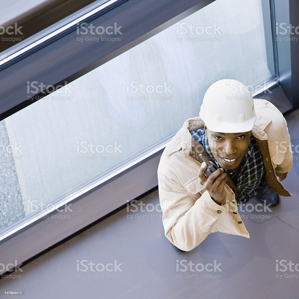 Male Construction Worker With Walkie-Talkie royalty-free stock photo