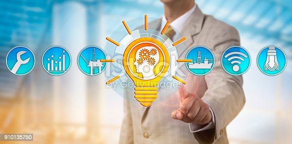 483424715 istock photo Male Consultant Presenting Bright Talent Solution 910135750